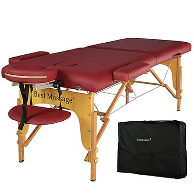 10. BestMassage Portable Massage Table, PU and with Free Carry Case