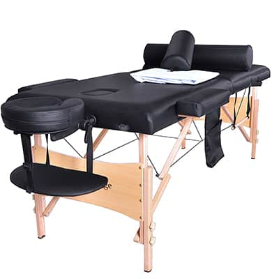 3.  BestMassage Table Portable Facial SPA Bed with Sheet Cradle Cover and 2 Bolster plus Hanger