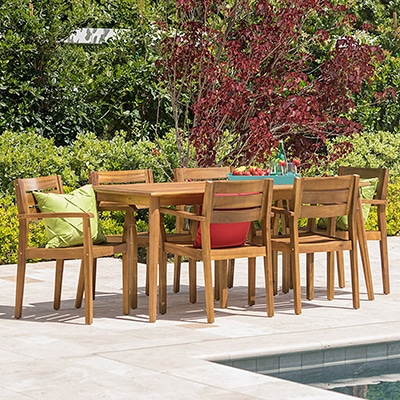 6. GDF Studio Acacia Dining Set