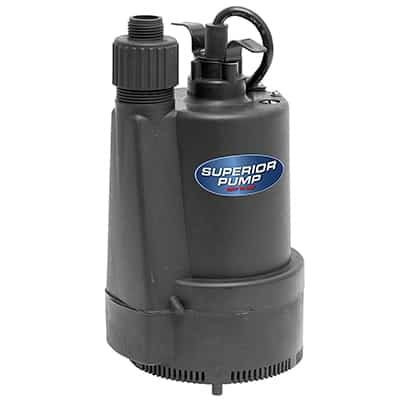 1.  Superior Pump Thermoplastic Submersible Utility Pump, 1/3 HP, 91330