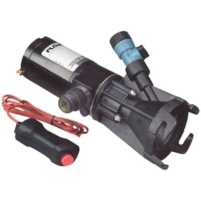 1. Flojet 18555-000A, 12 Volt DC Portable RV Waste Pump, Macerator, Includes Carrying Case