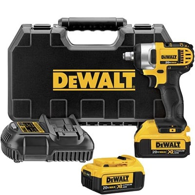 2. DEWALT DCF880HM2, MAX Lithium-Ion 1/2-Inch Impact Wrench, 20-volt Kit with Hog Ring