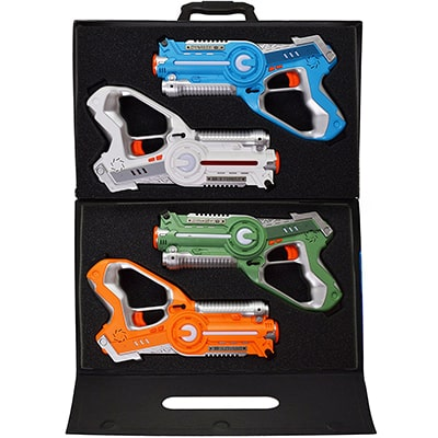 3. Dynasty Toys 4 Pack Laser Tag Set and Carrying Case for Kids Multi-player