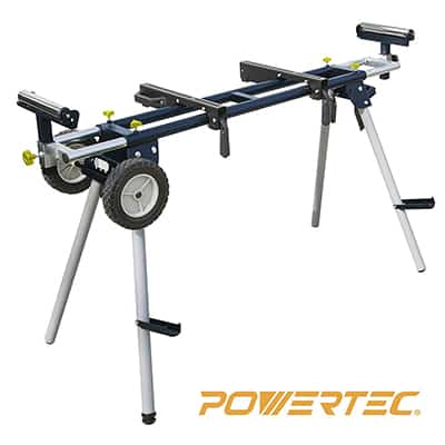 4. POWERTEC MT4000 Deluxe Miter Saw Stand with Wheels