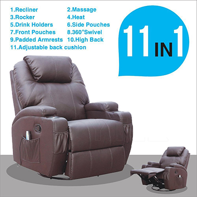1. MSG Massage Recliner Leather Chair Ergonomic Lounge Swivel – Heated