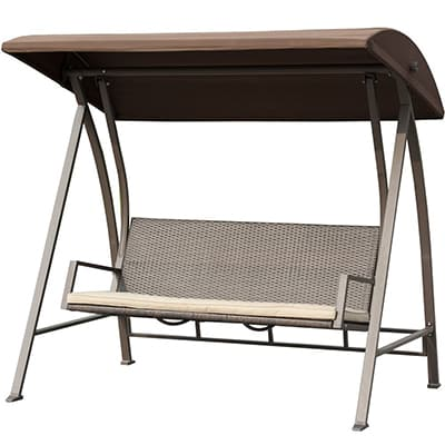 3. PatioPost Outdoor Porch Swing Lounge Chair Seats 3 Patio PE Wicker