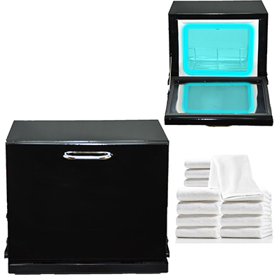 6. Black Compact 2-in-1 Towel Warmer & Ultraviolet Sterilizer Cabinet