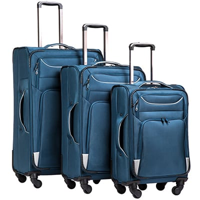 3. Coolife 3-Piece Spinner Luggage