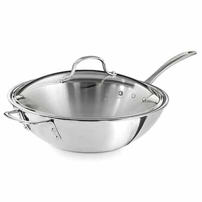 7. Calphalon Triply Stainless Steel Wok Pan