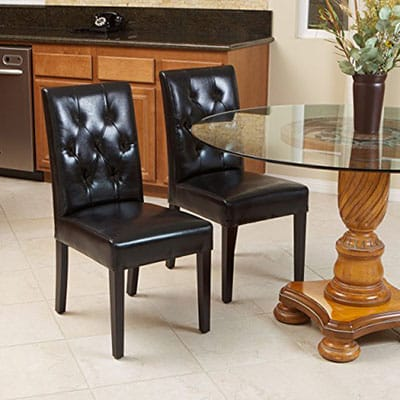 5. Waldon Black Leather Dining Chairs