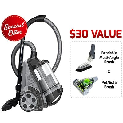 8. Ovente Bagless Cyclonic Canister Vacuum