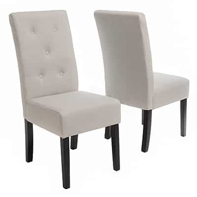 4. Alexander Grey Leather Dining Chairs