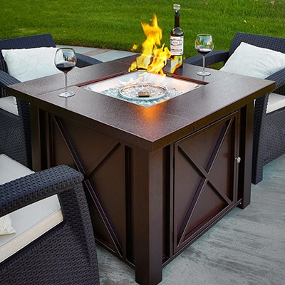 8. XtremepowerUS Outdoor Patio Fire Pit Table.