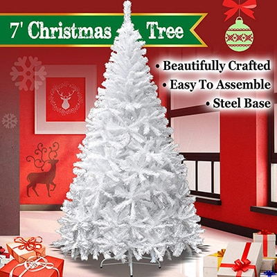 5. BenefitUSA Classic Pine tree with Metal Stand, artificial Christmas 7' White
