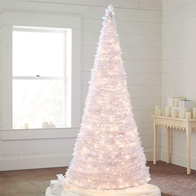 7. Brylanehome Pre-Lit Pop-Up Trees, White
