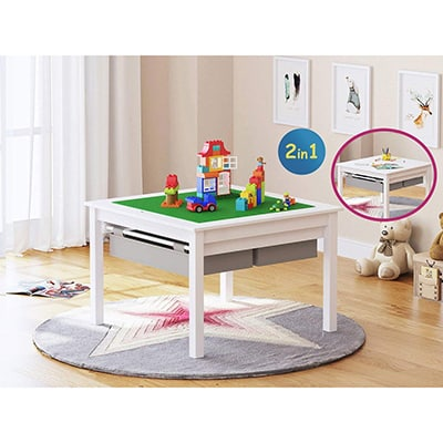 4. UTEX 2 in 1 Kids Construction Play Lego Table