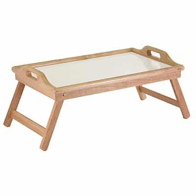 3. Winsome Wood 98122 Sherwood Bed Tray Table Natural and White top
