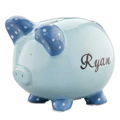 9. Miles Kimball Personalized Ceramic Piggy Bank for Kids
