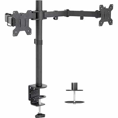 4. VIVO Dual LCD Monitor Mount Stand with Bolt-Through Grommet and C-clamp