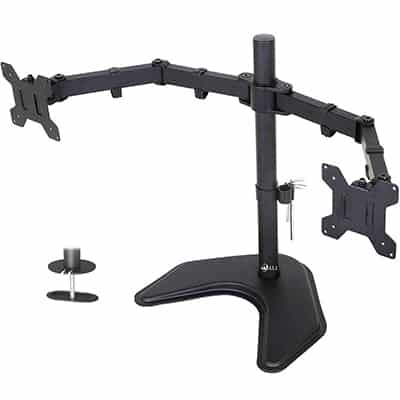3. WALI Free Standing Dual LCD Monitor Fully Adjustable Mount