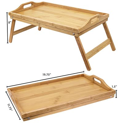 4. Greenco Bamboo Foldable Breakfast Table Bed Table, Laptop Desk, Serving Tray