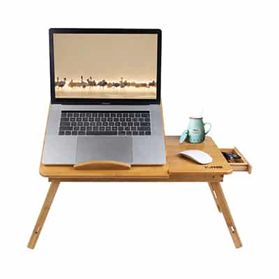 7. ISINO 26.8 Inch Large Bamboo Wood Laptop Tray Table