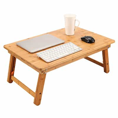 5. NNEWVANTE Foldable Lap Table, TV Tray Bed Tray, Floor Table-Bamboo