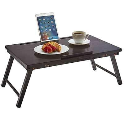 6. PJ WOOD Foldable Open-Top Laptop Desk and Bed Tray Table – Black