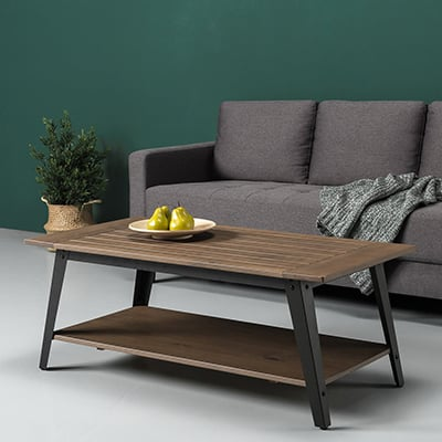 7. Zinus Wood and Metal Coffee Table