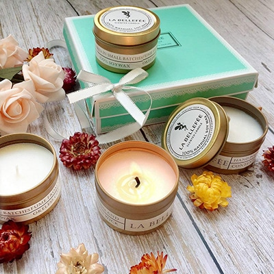 5. LABELLEFEE Scented Candles Soy-Wax Travel Tin Candles