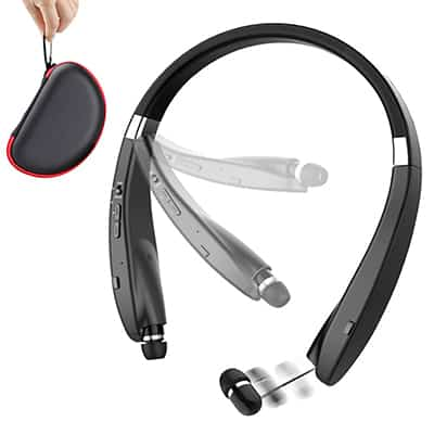 8. Beartwo Lightweight Retractable Bluetooth Headphones