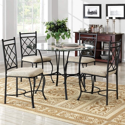 Black Bonnlo 5 Pieces Dining Set Kitchen Dining Table And 4 Chairs Small Glass Dining Table Set With Metal Legs And Pu Padded Seat Home Kitchen Kitchen Dining Room Furniture