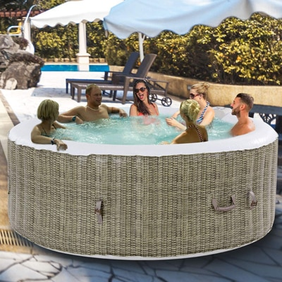 7. GYMAX Outdoor Spa, 6-Person Portable Inflatable Hot Tub