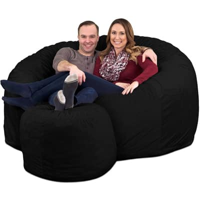 4. ULTIMATE SACK 6000 Bean Bag Chair and Footstool