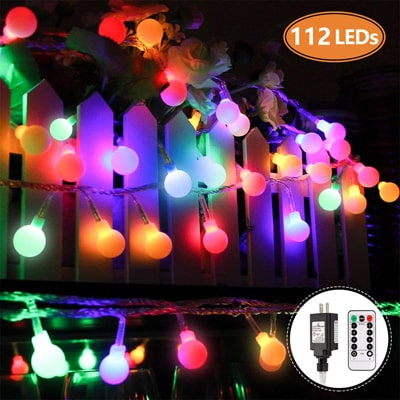 7. MIBOTE Globe String Lights