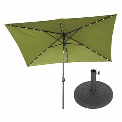 8. Trademark Innovations Rectangular Solar-Powered Patio Umbrella-10' x 6.5.'