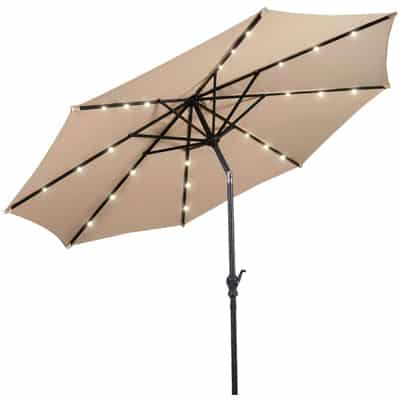 8. Giantex 10ft Solar Patio Umbrella Sunbrella with Lights