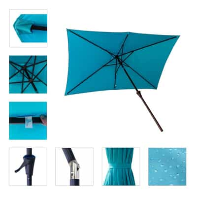 5. FLAME&SHADE Rectangular Outdoor Patio Umbrella