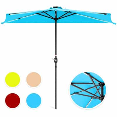 1. Best Choice Products 8.5ft Solar LED Strip Patio Umbrella – Blue