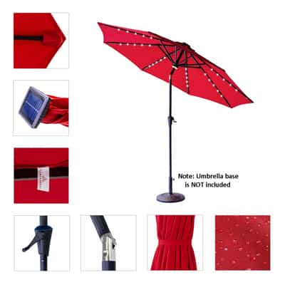 2. FLAME&SHADE 9' Solar Outdoor Patio Umbrella Market Style