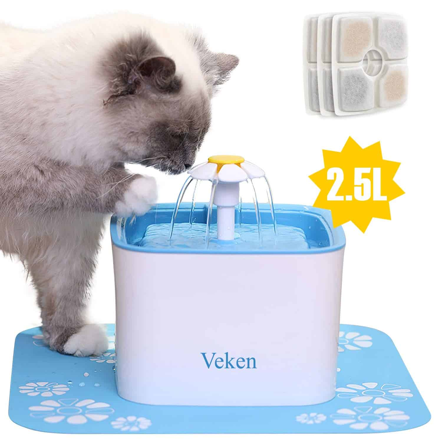 10. Veken Pet Automatic Cat Water Fountain and Dog Water Dispenser