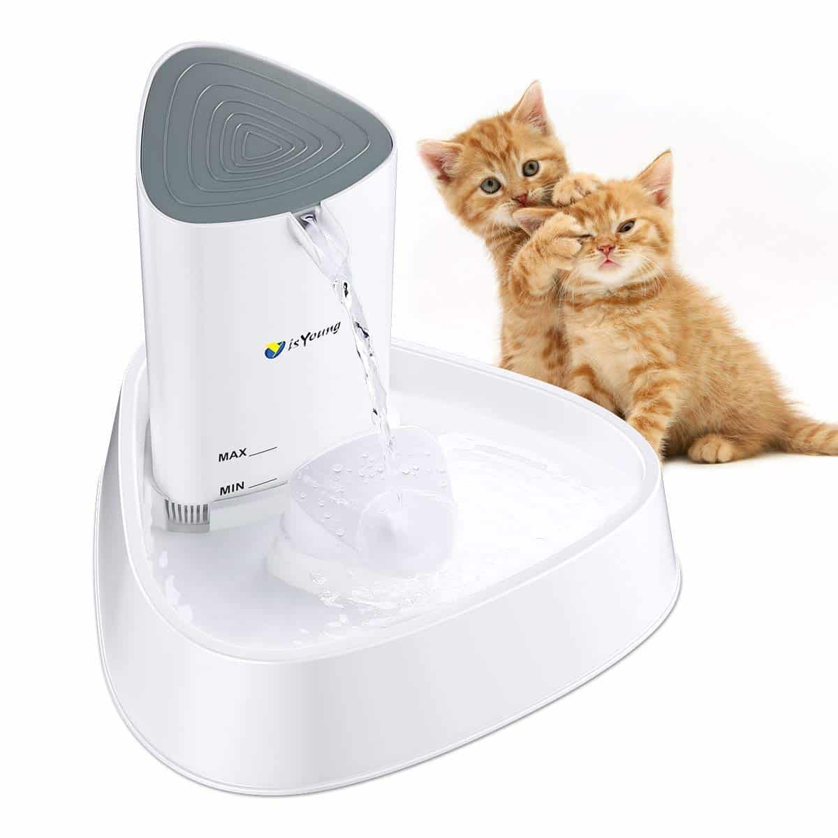 2. isYoung Cat Fountain LED Pet Water Fountain