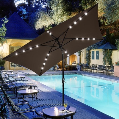 9. Yescom 10x6.5ft Rectangular LED Lighted Patio Umbrella