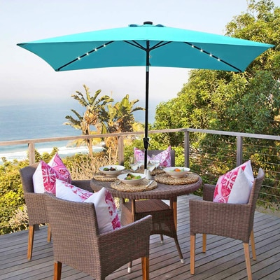 2. COBANA 9.8 x 6.6ft Outdoor Rectangle Table Market Umbrella