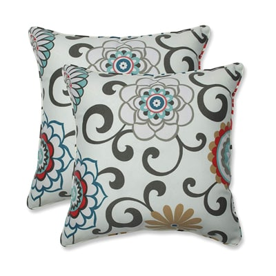 12. Pillow Perfect Outdoor Pom-Pom Play Peachtini Throw Pillow