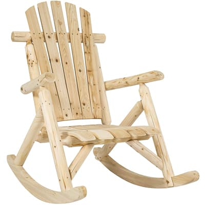 7. Best Choice Products Hardwood Log Rocking Chair