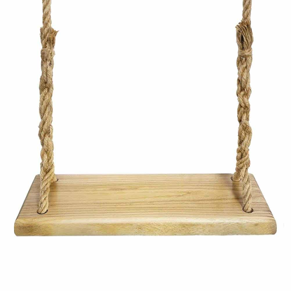 9. Aonekey Natural wood swing