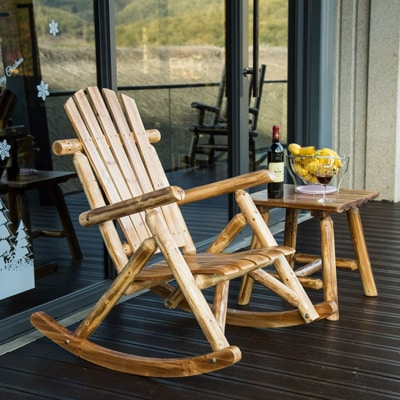 4. DJL Antique Wood Outdoor Rocking Log Chair