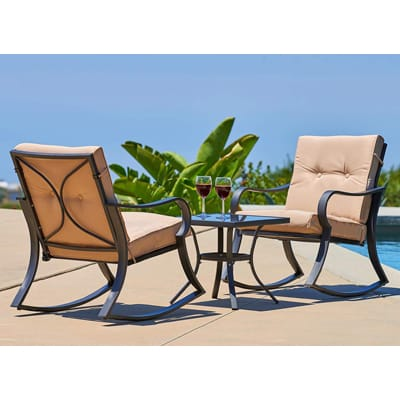 8. SOLAURA Outdoor Rocking Chairs