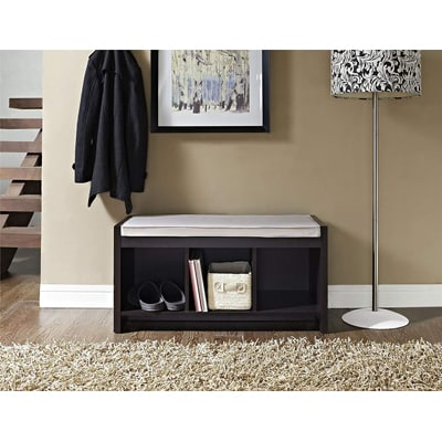8. Ameriwood Home Penelope Entryway Storage Bench with Cushion, Espresso